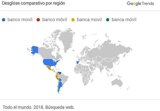 Banco movil y banca movil-desglose por países del mundo