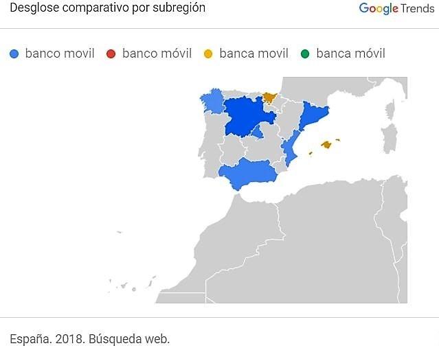 Banco movil y banca movil-desglose por subregión en España