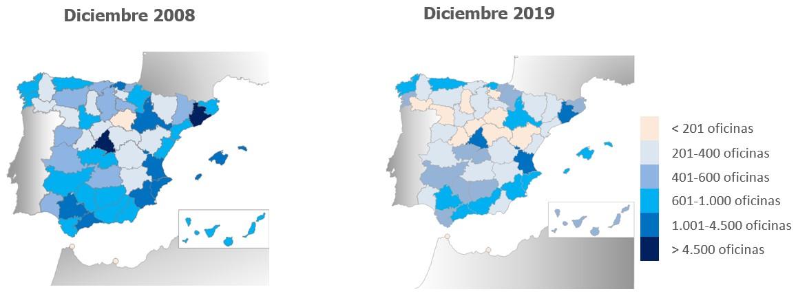 Distribución provincial de oficinas bancarias en España 2008-2019