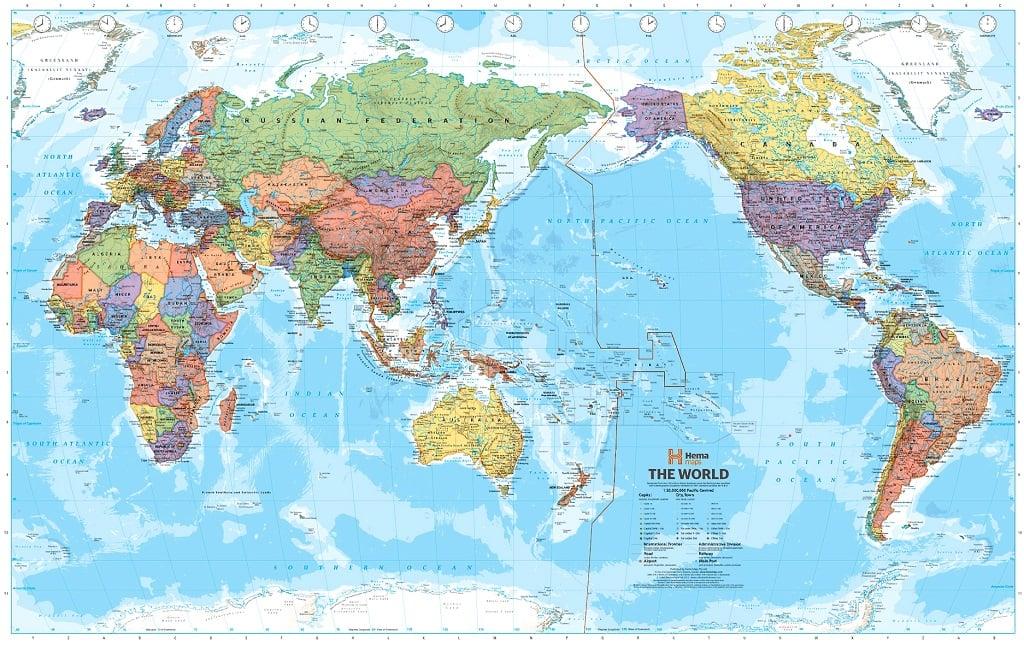 Mapa del mundo con Asia en el centro