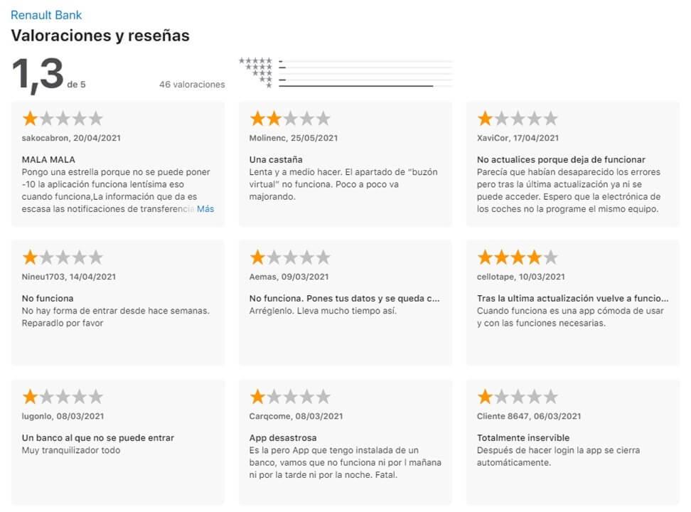 Renault bank comentarios Apple Store